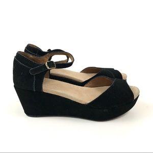 TOMS•Black Suede Peeptoe Ankle Strap Wedges